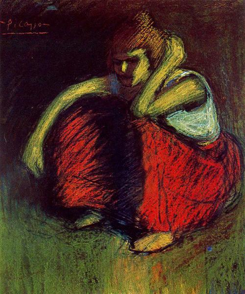 A red skirt, 1901 - Pablo Picasso