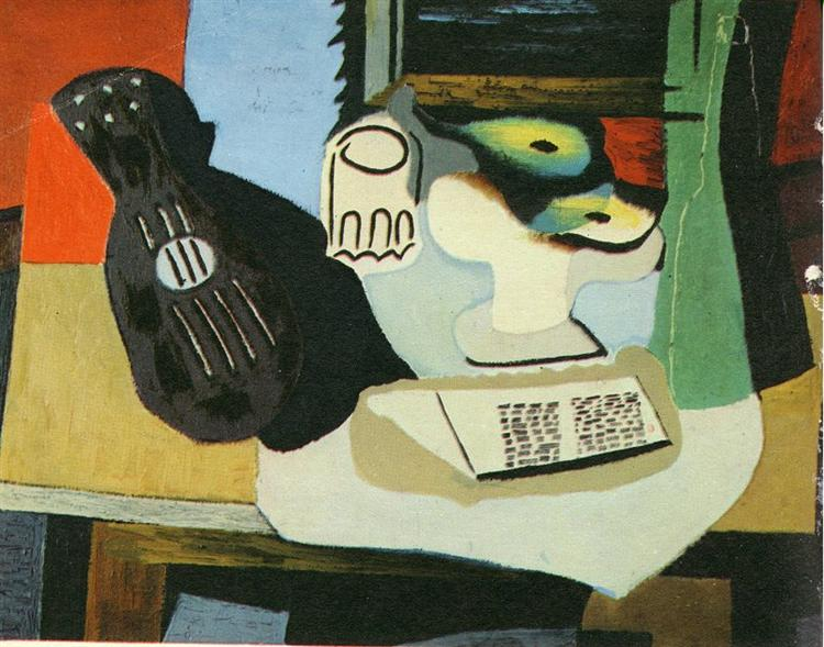 Guitar, Glass and Fruit Dish with Fruit, 1924 - Pablo Picasso