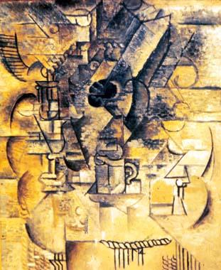 Pedestal, glasses, cups, mandolin, 1911 - Pablo Picasso