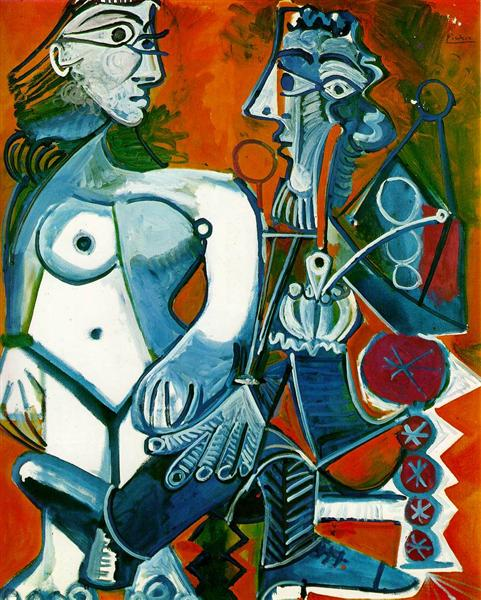Standing female nude and man with pipe, 1968 - Pablo Picasso