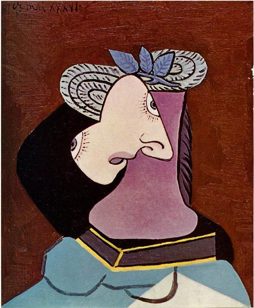 The straw hat with blue leaves, 1936 - Pablo Picasso