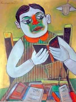 Boy Reading A Book - Paritosh Sen