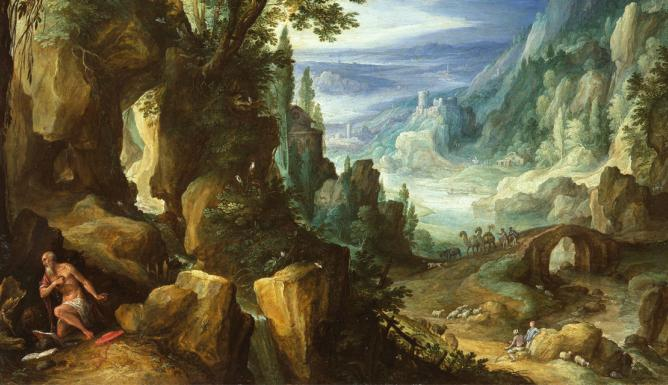 Landscape with St. Jerome and rocky crag