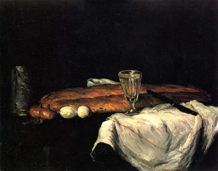 Still Life with Bread and Eggs, 1865 - Paul Cezanne