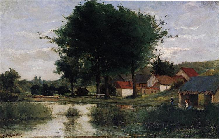 Autumn Landscape (Farm and pond), 1877 - Paul Gauguin