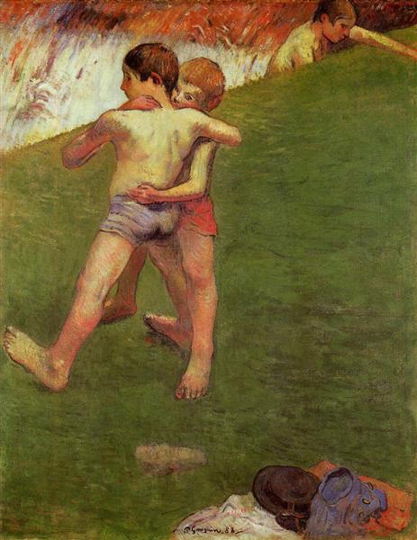 Breton Boys Wrestling, 1888 - Paul Gauguin