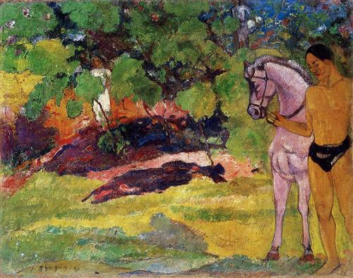 In the Vanilla Grove, Man and Horse (The Rendezvous) - Paul Gauguin