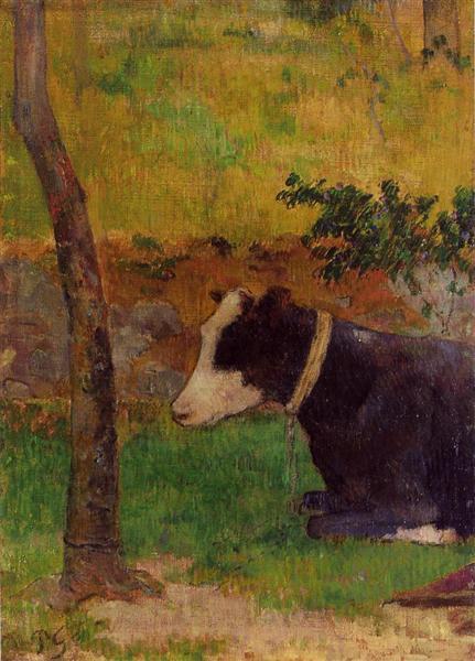 Kneeling cow, 1888 - Paul Gauguin
