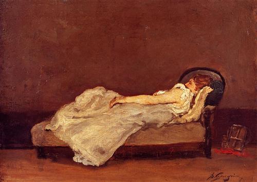 Mette asleep on a sofa - Paul Gauguin