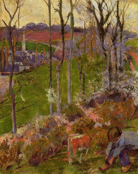 Petit Breton arranging his shoe, or Landscape at Pont-Aven, Brittany, 1888 - Paul Gauguin