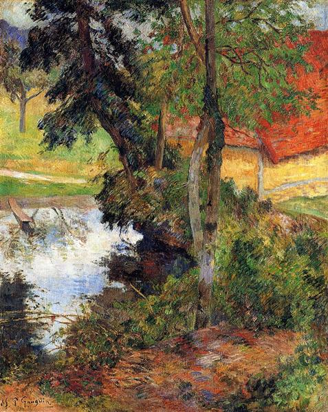 Red roof by the water, 1885 - Paul Gauguin