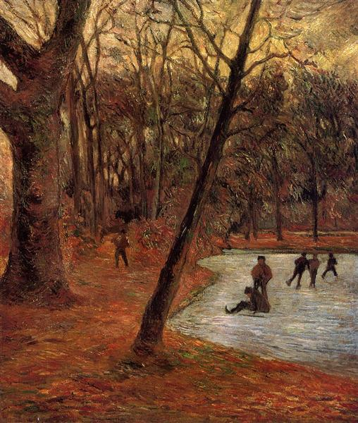 Skaters in Fredericksberg park, 1884 - Paul Gauguin