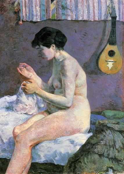 Suzanne Sewing - Study of a Nude, 1880 - Paul Gauguin