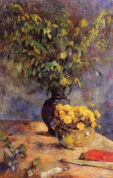 Two vases of flowers and a fan, 1885 - Paul Gauguin