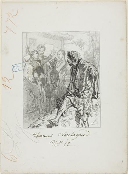 Les Propos de Thomas Vireloque: Ego! ego...ego - all equal (egaux-ego, buth pronounced alike), 1853 - Paul Gavarni