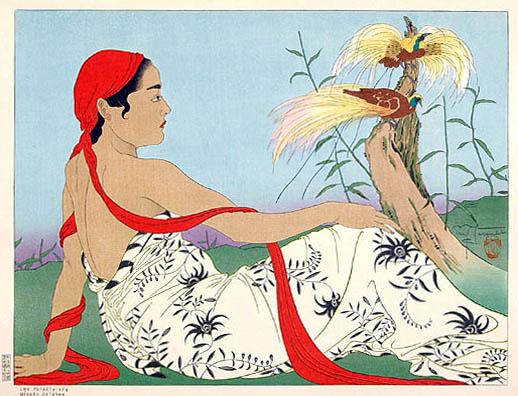Les Paradisiers. Menado, Celebes, 1937 - Paul Jacoulet