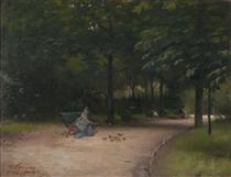 Feeding birds in the park - Paul Peel
