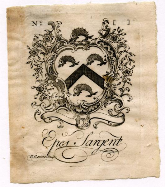 Epes Sargent Bookplate, 1764 - Paul Revere
