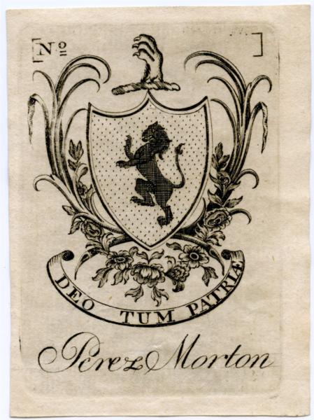 Perez Morton Bookplate, 1784 - Paul Revere
