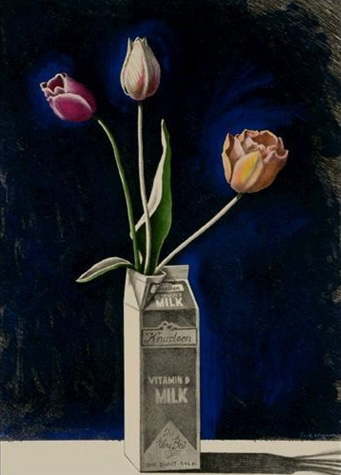 Tulips in a Milk Carton - Paul Wonner