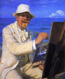 Self-Portrait, Sitting by His Easel at Skagen Beach - Peder Severin Krøyer