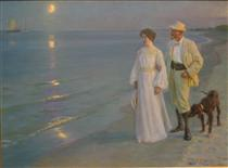Summer evening on Skagen's beach - Peder Severin Krøyer