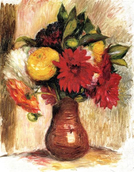 Bouquet of Flowers in an Earthenware Pitcher - Pierre-Auguste Renoir
