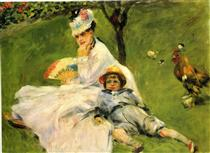 Camille Monet and Her Son Jean in the Garden at Argenteuil - Pierre-Auguste Renoir