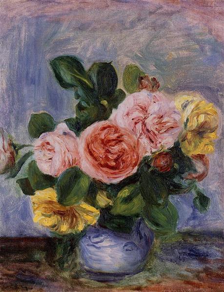 Roses in a Vase - Pierre-Auguste Renoir