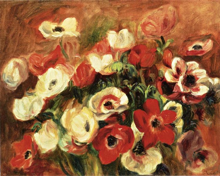 Spray of Anemones - Pierre-Auguste Renoir