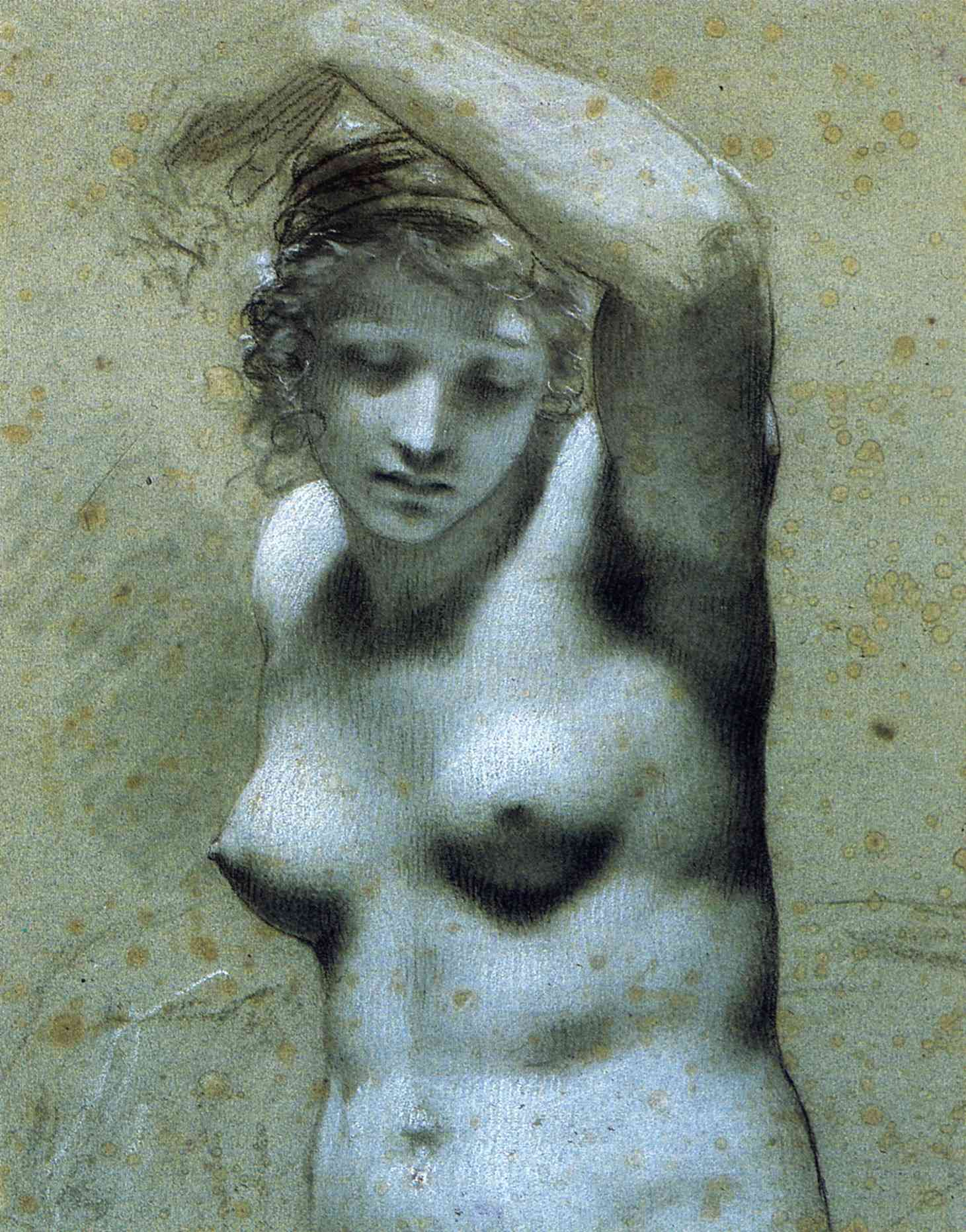 Bust of female nude - Pierre-Paul Prud'hon - WikiPaintings.