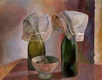 Still Life with Bottles and Breton Bonnets - Pierre Roy