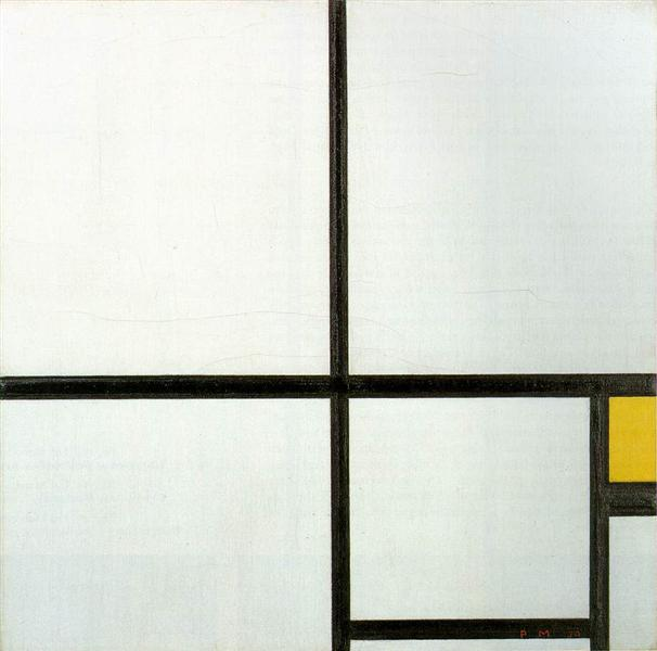 piet mondrian, composition with yellow patch, 1930