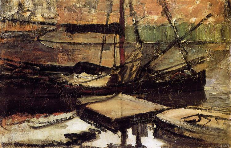 Moored ships Sun, 1899 - Piet Mondrian