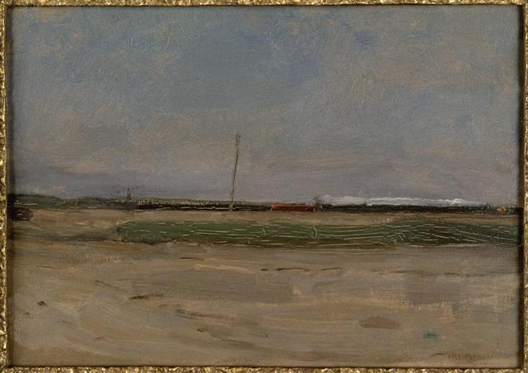Polder Landscape with a Train and a Small Windmill on the Horizon, 1906 - 1907 - Piet Mondrian