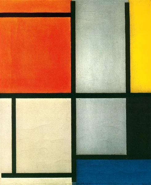 Tableau 3 with Orange -Red, Yellow, Black, Blue and Gray, 1921 - Piet Mondrian