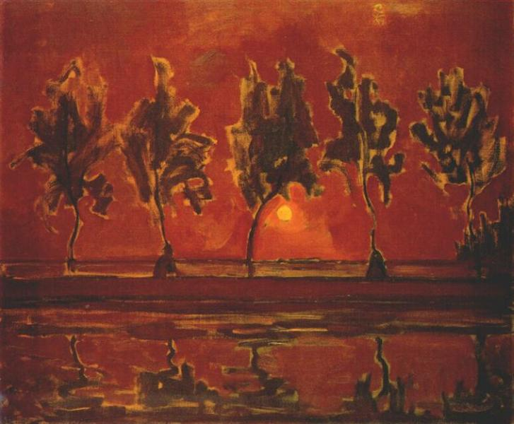 Trees by the Gein at Moonrise, 1907 - 1908 - Piet Mondrian