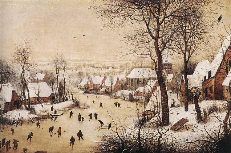 Winter Landscape with Skaters and a Bird Trap - Bruegel the Elder Pieter