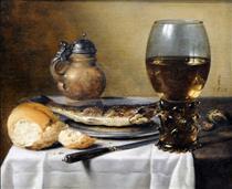 Still Life with Jug, Wine Glass, Herring and Bread - Pieter Claesz