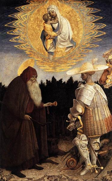 Apparition of the Virgin to Sts Anthony Abbot and George - Antonio Pisanello