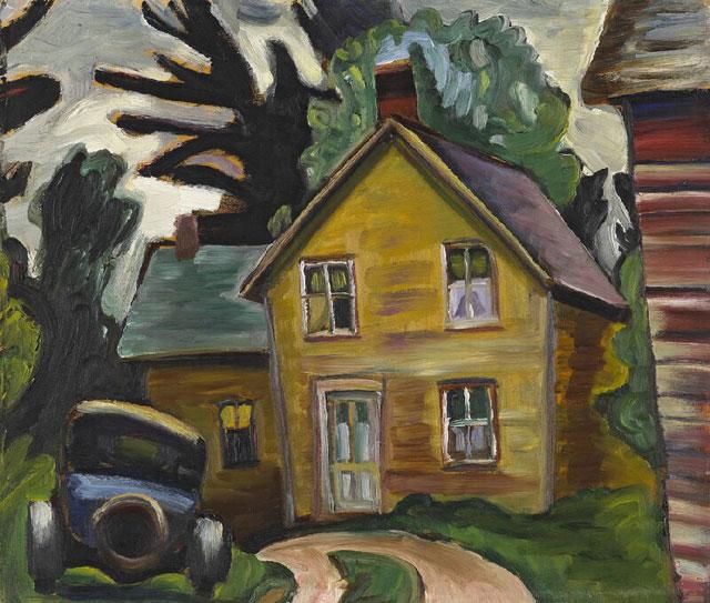 Farmhouse and Car, 1933 - Prudence Heward