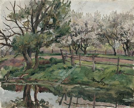 Grey day. Blossoming apple trees by the pond., 1937