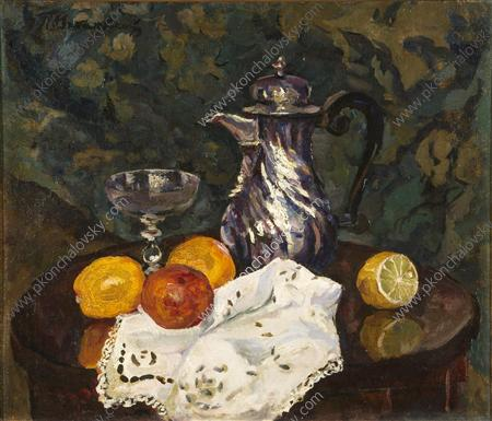 Still life on the background of the carpet. Oranges and coffee., 1938