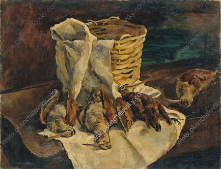 Still Life. Woodcocks with a basket., 1934