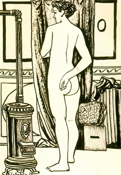 Female nude from back with stove - Rafael Zabaleta