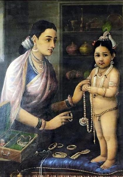 Yasoda Adorning Krishna - Raja Ravi Varma