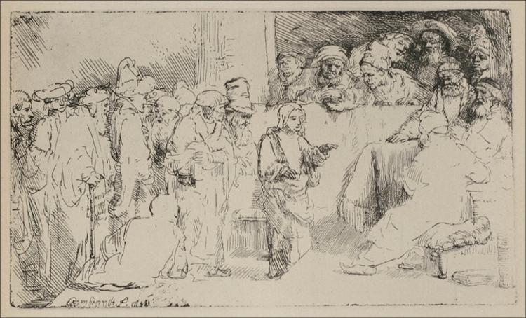Jesus Disputing the Doctors a Larger Print - Rembrandt