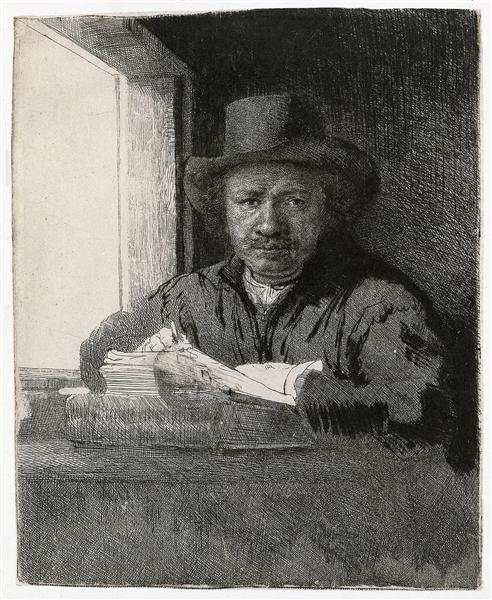 Self-portrait drawing at a window, 1648 - Rembrandt