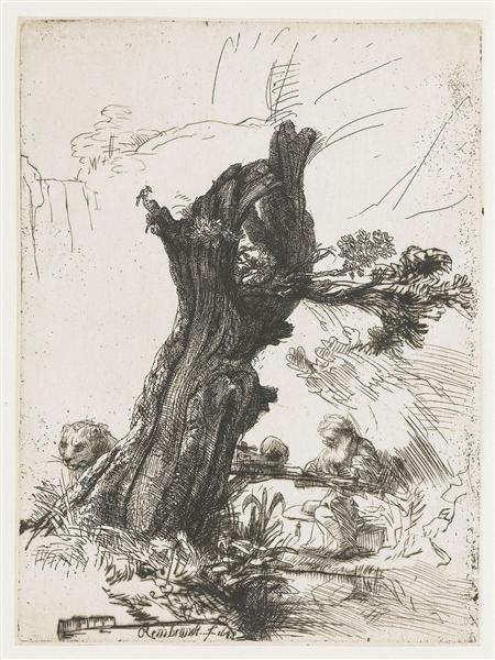 St. Jerome beside a pollard willow, 1648 - Rembrandt