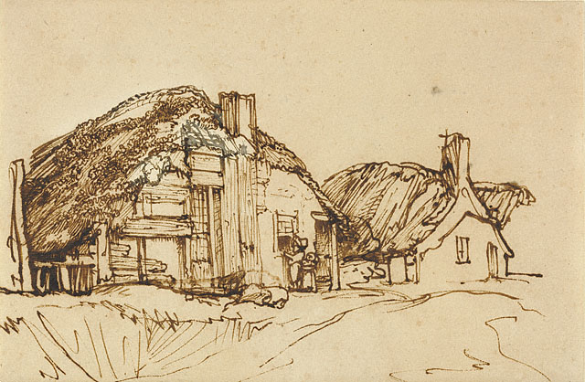 Two Thatched Cottages with Figures at the Window, 1640 - Rembrandt